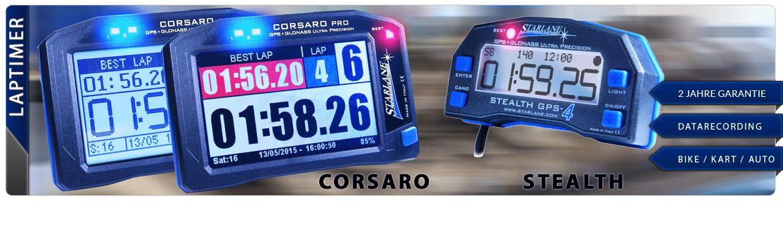 Übersicht Laptimer Corsaro und Stealth